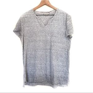 Calvin Klein Jeans Striped Grey V-Neck T-shirt